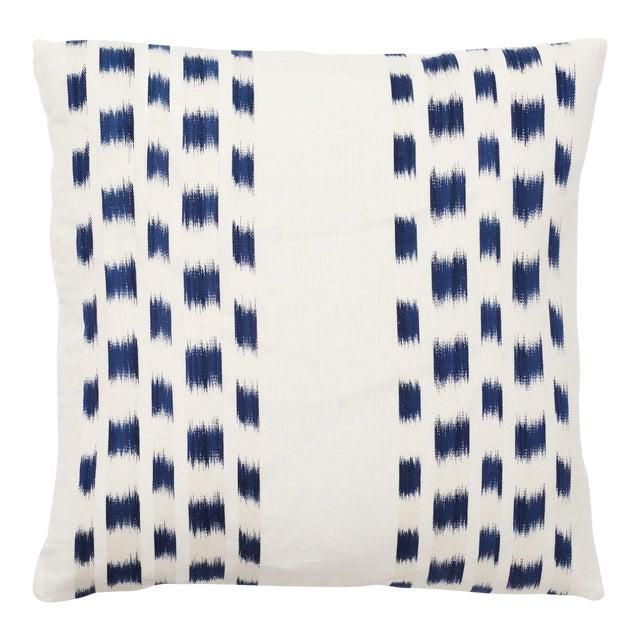 Schumacher Izmir Stripe Pillow in Blue/White 26x26 - Pair For Sale