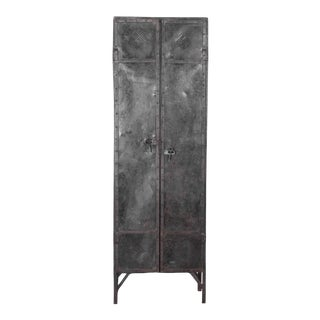 19th Century Industrial Iron Locker Cabinet For Sale