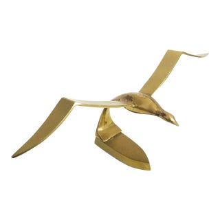 Vintage Large Brass Seagull Sculpture