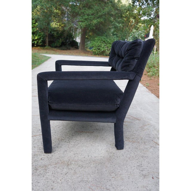 Baughman Style Black Velvet Open Arm Chairs - A Pair - Image 5 of 8