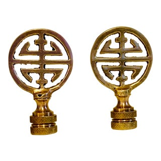 Brass Vintage Asian Style Finials - a Pair For Sale