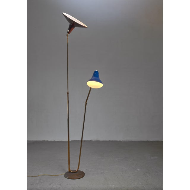 1950s Guiseppe Ostuni Floor Lamp With 2 Shades for O-Luce, Italy For Sale - Image 5 of 7