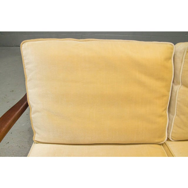 Danish Modern Loveseat Settee With Down Cushions For Sale - Image 10 of 11
