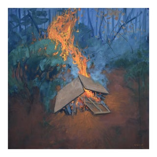 """Burning Old Paintings"" Contemporary Painting by Stephen Remick For Sale"