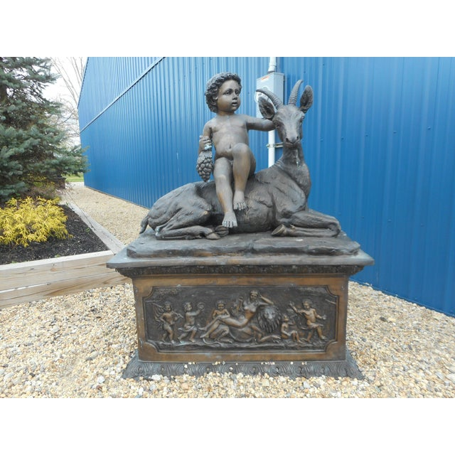 Elegant Bronze Statue of a Child and a Goat on a Column For Sale - Image 11 of 11