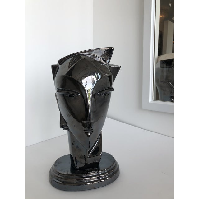 "20th Century Abstract Porcelain Art Deco ""Myng"" Head Sculpture Bust - Image 2 of 7"