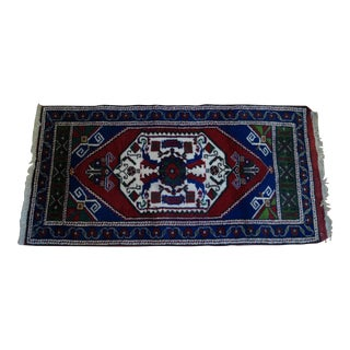 Hand Knotted Blue Wool Tribal Rug - 1′11″ × 3′8″ For Sale