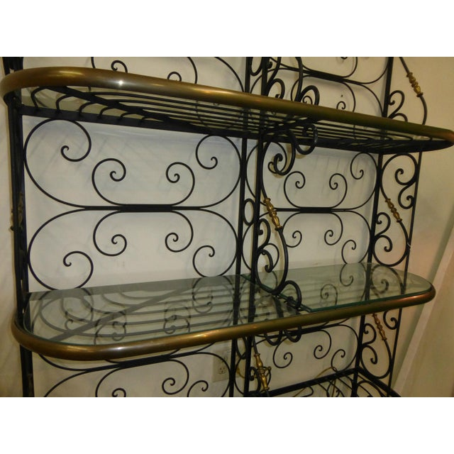 Vintage Baker's Rack Solid Wrought Iron W Solid Brass Hardware Bookcase - Image 3 of 11