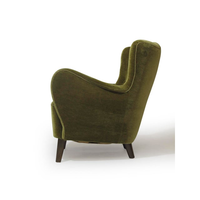 Art Deco Scandinavian Mohair Lounge Chair For Sale - Image 3 of 11