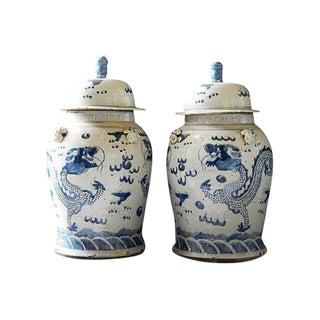 "Chinoiserie Large B & W Dragons Ginger Jars 23"" H For Sale"