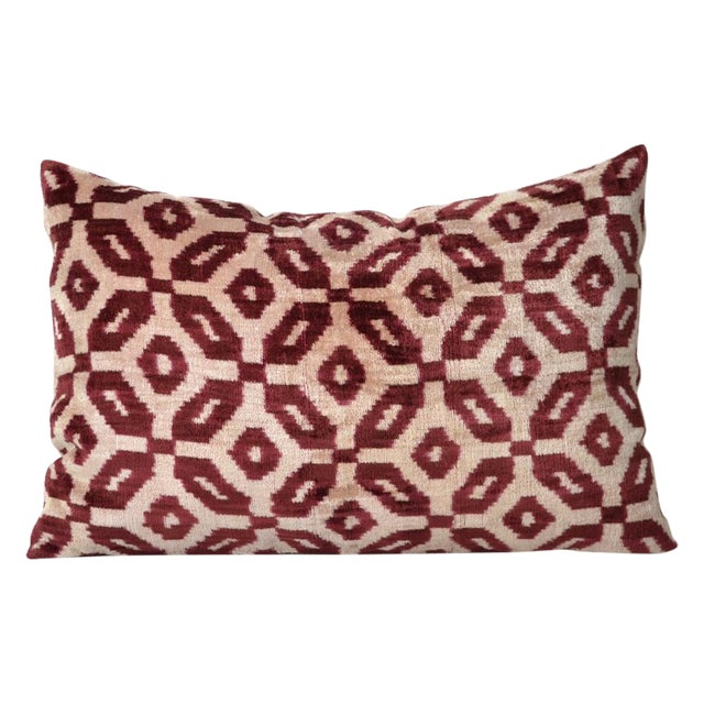 Bordeaux Silk Velvet Accent Pillow For Sale