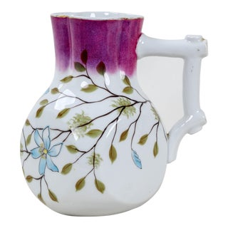 Vintage Purple Necked Porcelain Jug For Sale