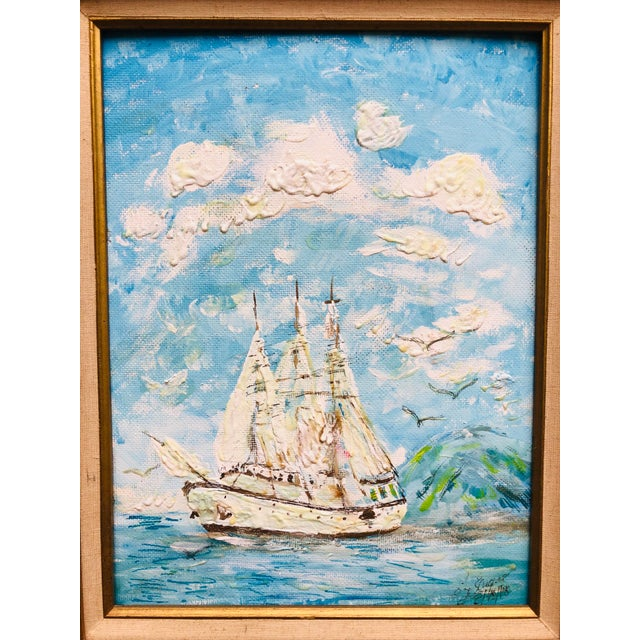 Mid-Century Modern Vintage Sailboat Ocean 3d Art Painting Signed in Antique Gold Frame For Sale - Image 3 of 13