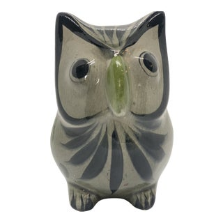 Vintage Gray and Green Handmade Mexican Tonalá Ceramic Pottery Owl Figurine For Sale