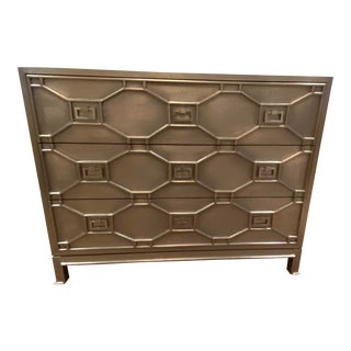 Hollywood Regency Silver Chest or Dresser From Global Views For Sale