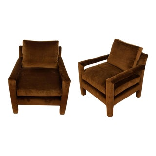 1960s Chocolate Brown Velvet Parsons Chairs - a Pair For Sale