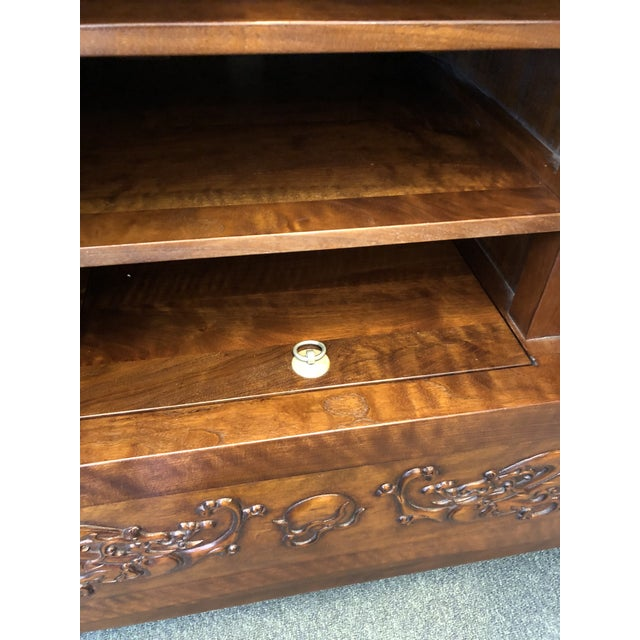 Brass Asian Style Walnut Bar or Media Armoire For Sale - Image 7 of 13