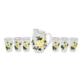 Vintage Hand-Painted Pitcher and Juice Glasses For Sale