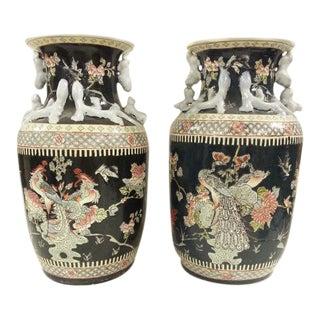 Pair of Chinese Vintage Peacock Black Porcelain Vases