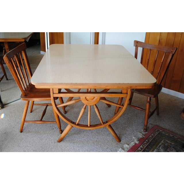 Baumritter 1950's Southwestern Baumritter Ethan Allan Wagon Wheel Dining Set - 5 Pieces For Sale - Image 4 of 13