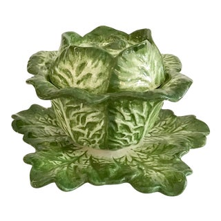 Ceramic Lettuce Shape Covered Bowl on a Dish For Sale