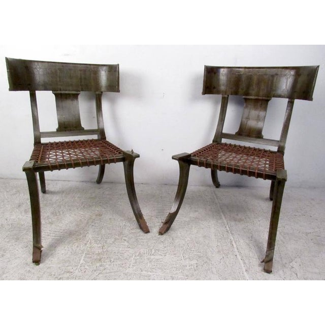 1970s Pair of Mid-Century Snake Skin Klismos Chairs After Robsjohn-Gibbings For Sale - Image 5 of 8