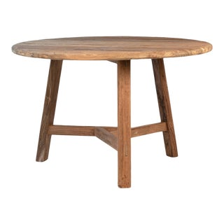 Rustic Salvaged Teak Round Table For Sale