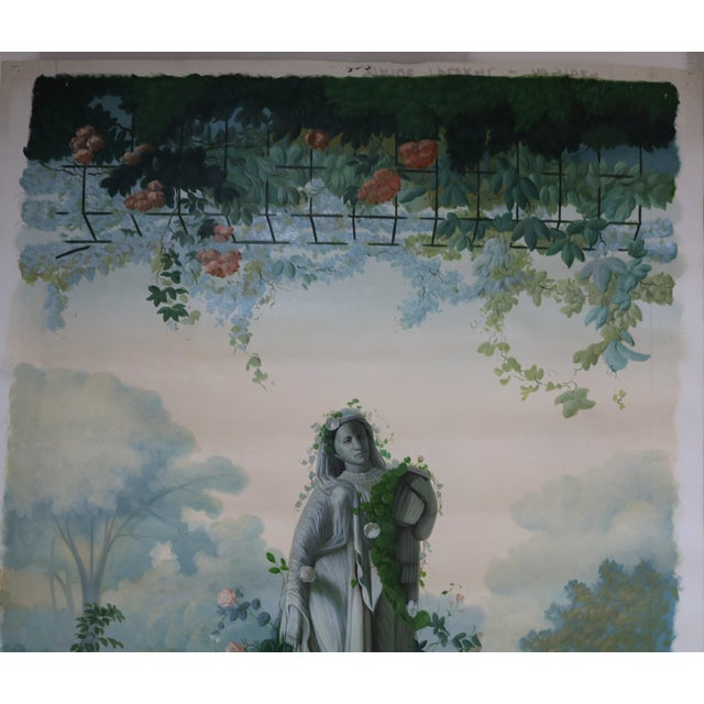"Vintage ""Statue and Floral Trellis"" Oil on Canvas Painting For Sale - Image 4 of 5"