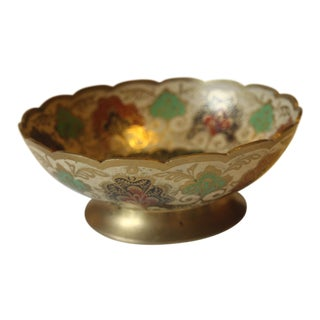 1970s Solid Brass Trinket Bowl With Cloisonne Decoration For Sale