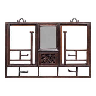 Early 20th Century Chinese Rosewood Hat Rack With Mirror For Sale