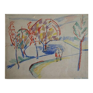 1940s Abstract Landscape Drawing by Rolph Scarlett For Sale