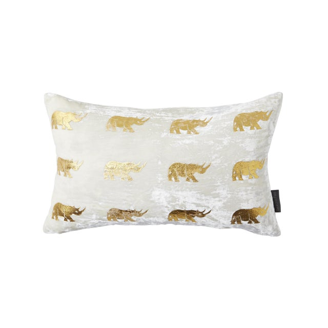 Arusha Ivory Velvet Accent Pillow With Rhinos For Sale