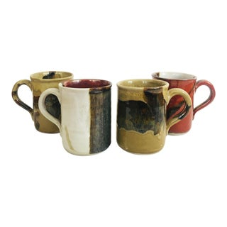 Vintage Hand Made Pottery Mugs - Set of 4 For Sale