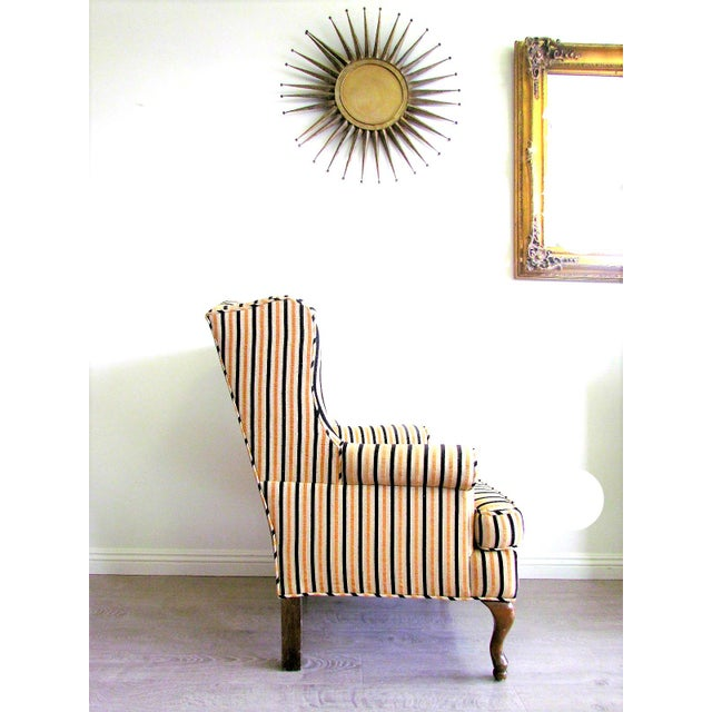 Wing-Back Striped Chair With Ottoman - Image 4 of 5
