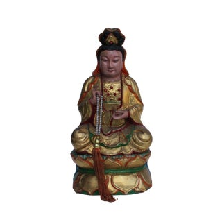 Vintage Chinese Wooden Carved Home Guardian God Heaven Figure For Sale
