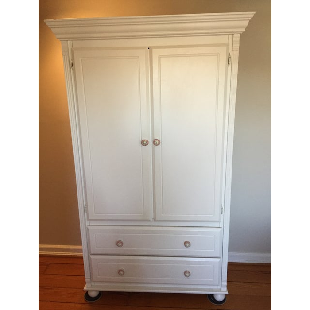 White Solid Wood Bellini Armoire | Chairish