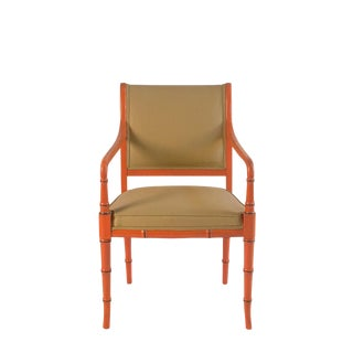1960s Hollywood Regency Orange Faux Bamboo Armchair