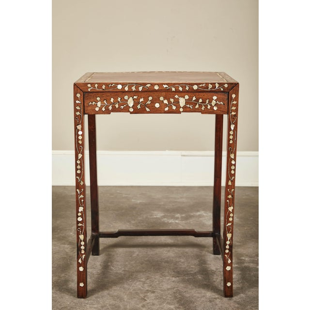 Brown 19th C. Side Table With Mother-Of-Pearl Inlay For Sale - Image 8 of 8