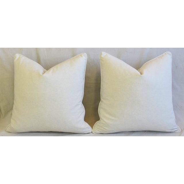 """French Jacobean Floral Cotton & Linen Feather/Down Pillows 24"""" Square - Pair For Sale - Image 11 of 13"""