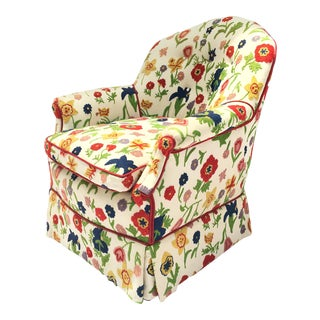Embroidered Floral Hollywood Regency Club Chair