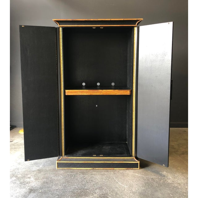 English Empire Bamboo & Grass Armoire For Sale - Image 3 of 8