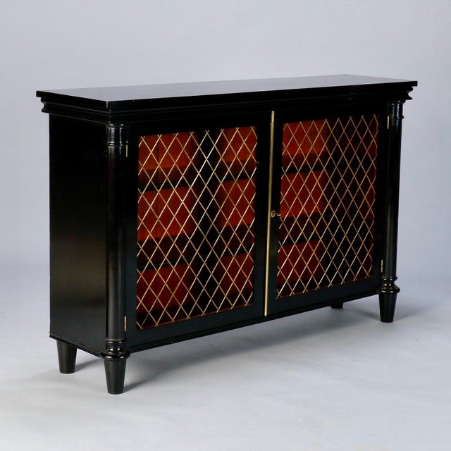 English sideboard has new professionally applied ebonised finish and open diamond weave decorative brass grill inserts on...