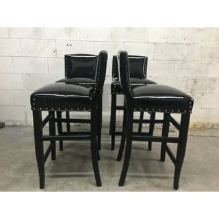 Late 20th Century Vintage Black Patent Bar Stools- Set of 4 Preview