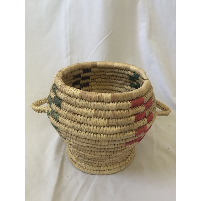 """Vintage Hand Woven Grass Basket """"Jar With Lid"""" For Sale - Image 4 of 7"""