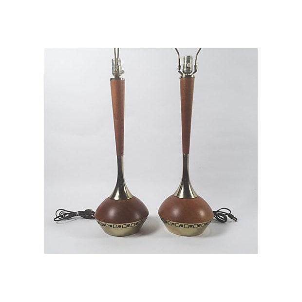 Mid-Century Wood & Brass Table Lamps - A Pair - Image 3 of 5