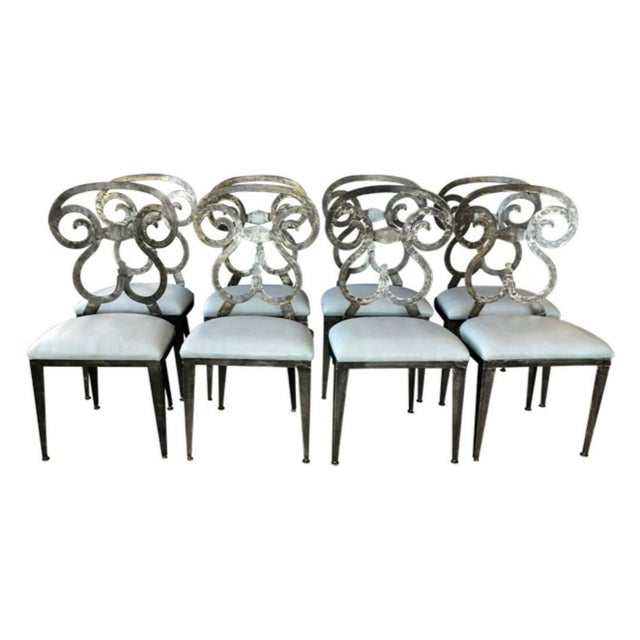 Hammered Steel Dining Chairs - Set of 8 For Sale In South Bend - Image 6 of 6