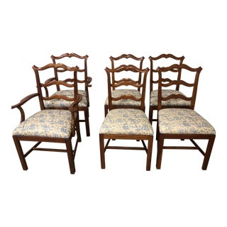 Chippendale Ladder Back Dining Chairs - Set of 6 For Sale
