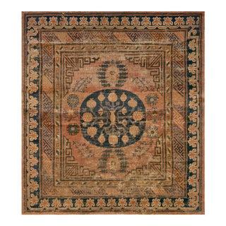 Mid 19th Century Handwoven Wool Khotan Rug For Sale