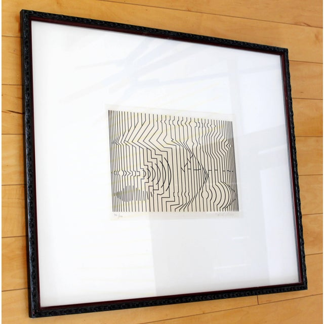 For your consideration is a framed print of a pop art piece by Victor Vasarely, titled Nuisances I created in 1971 signed...