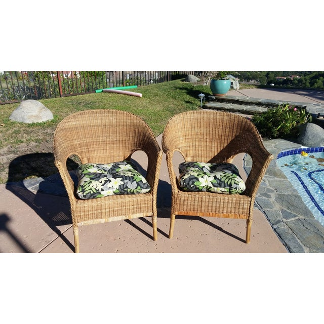 Wicker Patio Chairs with Cushions - A Pair - Image 2 of 8